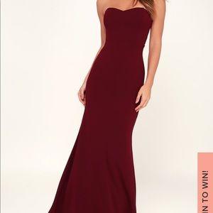 Lulu's Burgundy Strapless Maxi Dress